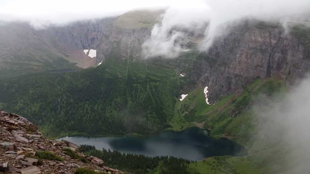 Overlooking Medicine Grizzly Lake with a heavy overcast.