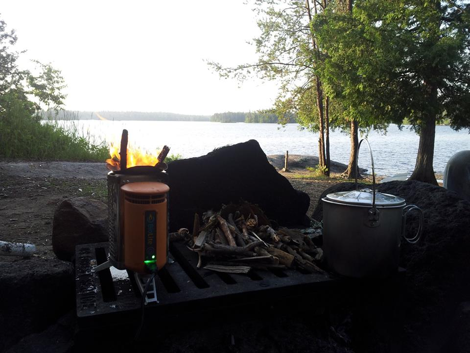 BioLite with fire ready to cook in the Boundary Waters of Canada