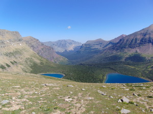 Overlook of Pitamakan Lake and Seven Winds of the lake, from Pitamakan Pass