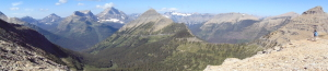 Panoramic view from Cut Bank Pass with Jackson Glacier in the distance.