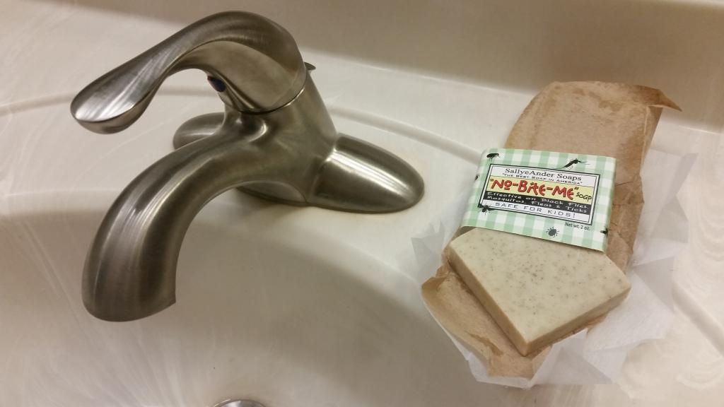 SallyeAnder Soap No Bite Me on the sink.