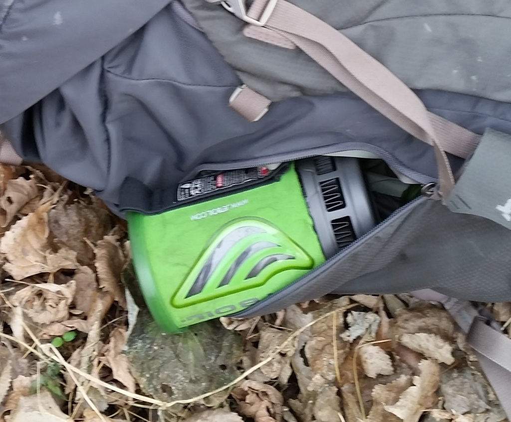 Jetboil Flashboil cooking system in a Gregory backpack